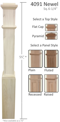 Box newels from Lighted Landings in Chesterfield, MO. Wood poplar box newel