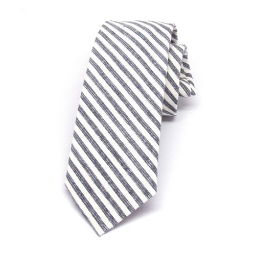 Cream & Charcoal Stripe Necktie