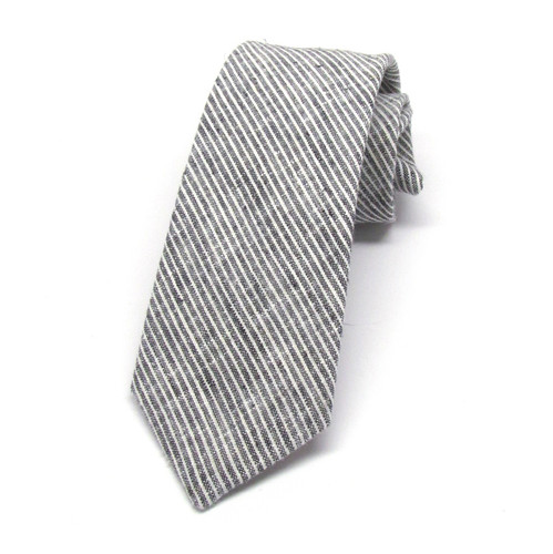 Grey & White Stripe Necktie