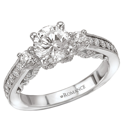 3 Stone Semi-Mount Diamond Ring (117929-100)
