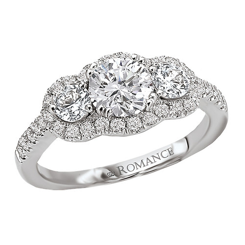 3 Stone Semi-Mount Diamond Ring (118214-040S)
