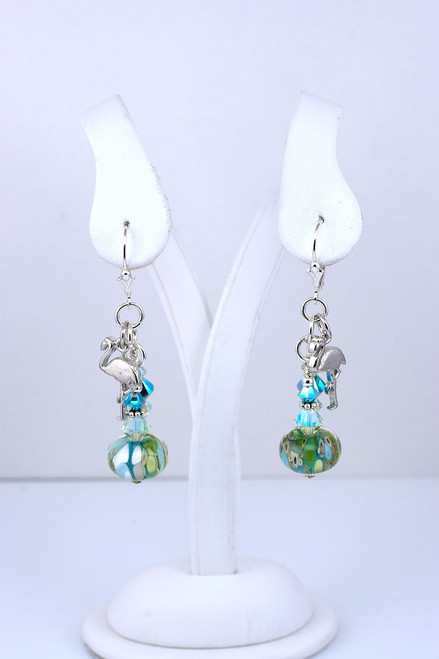 Floridian Memories Glass Bead and Sterling Earrings with Conch Charms