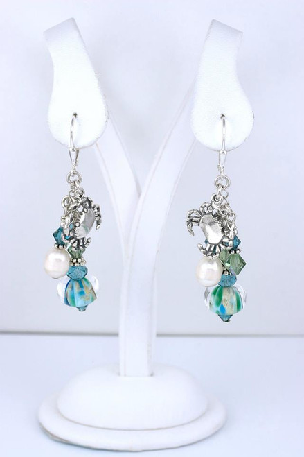 Eastern Shore Glass Bead  Earrings with Pearls, Crystals and Crab Charm