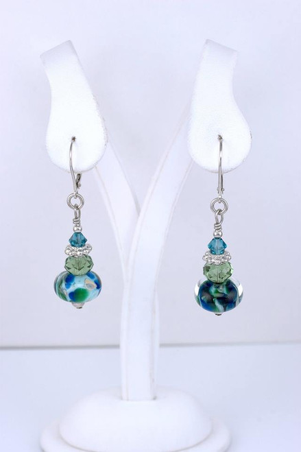 Eastern Shore Glass Bead and Sterling Earrings