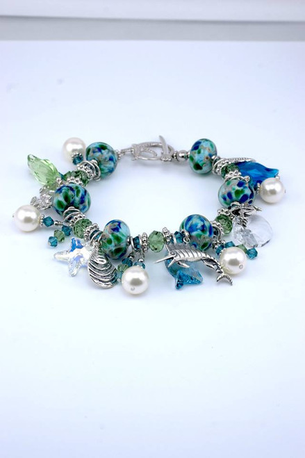 Eastern Shore Glass Large Five Charm Bracelet with Crystals