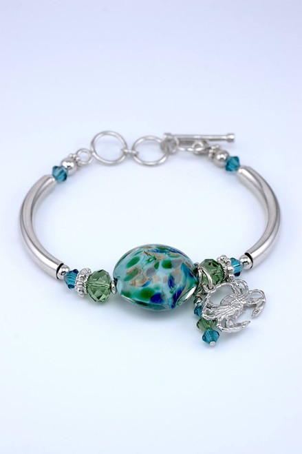 Eastern Shore Lentil Bracelet with Crab Charm