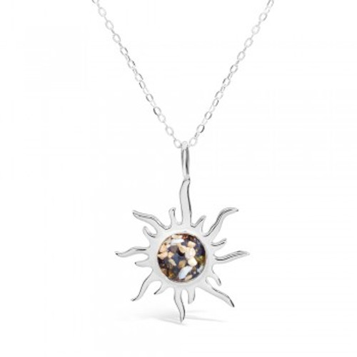 Dune Sand Sterling Silver Sunburst Necklace - You Pick the Sand! Over 3,800 Sands Available