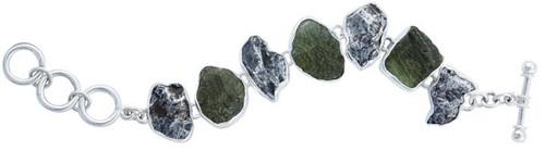 Sterling Silver Moldavite & Meteorite Bracelet