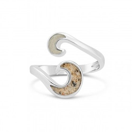 Dune Sterling Silver Wave Bypass Ring