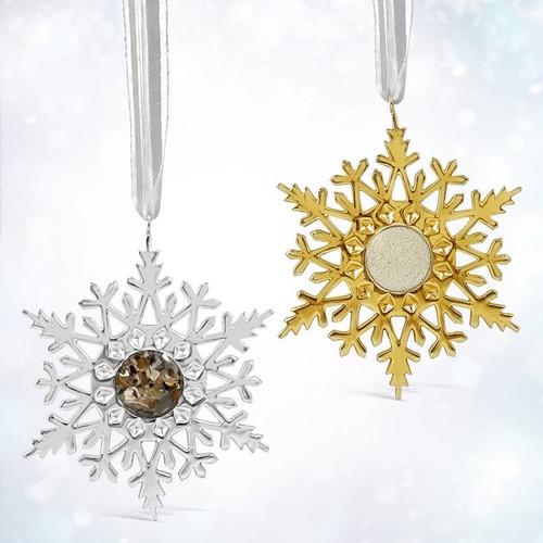 Dune Silver Snowflake Ornaments