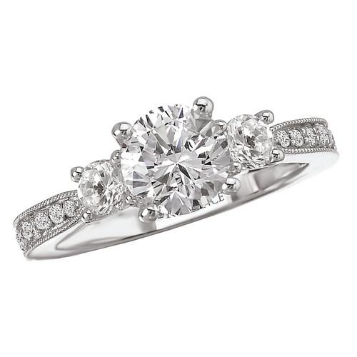 3 Stone Semi-Mount Diamond Ring (117476-100)