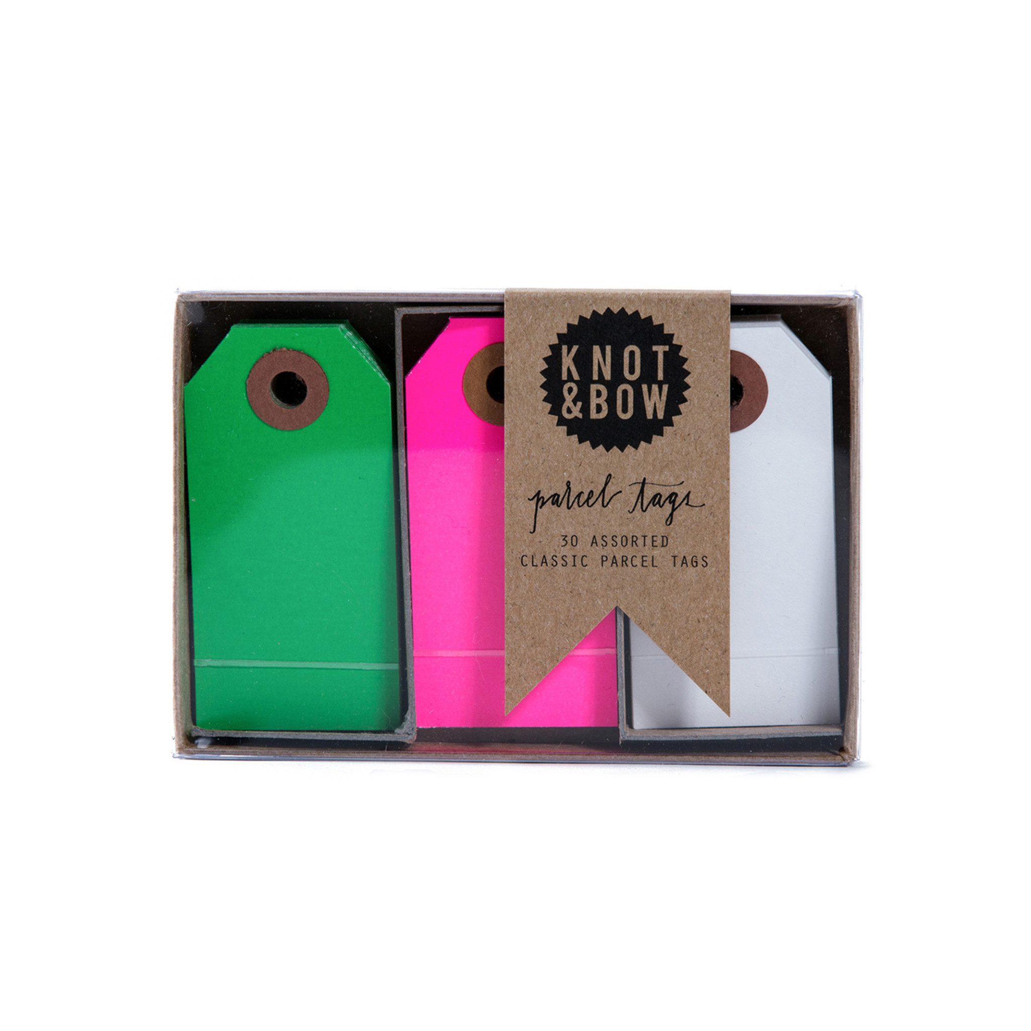 Parcel Tag Trio Box, Pink + Green Mix