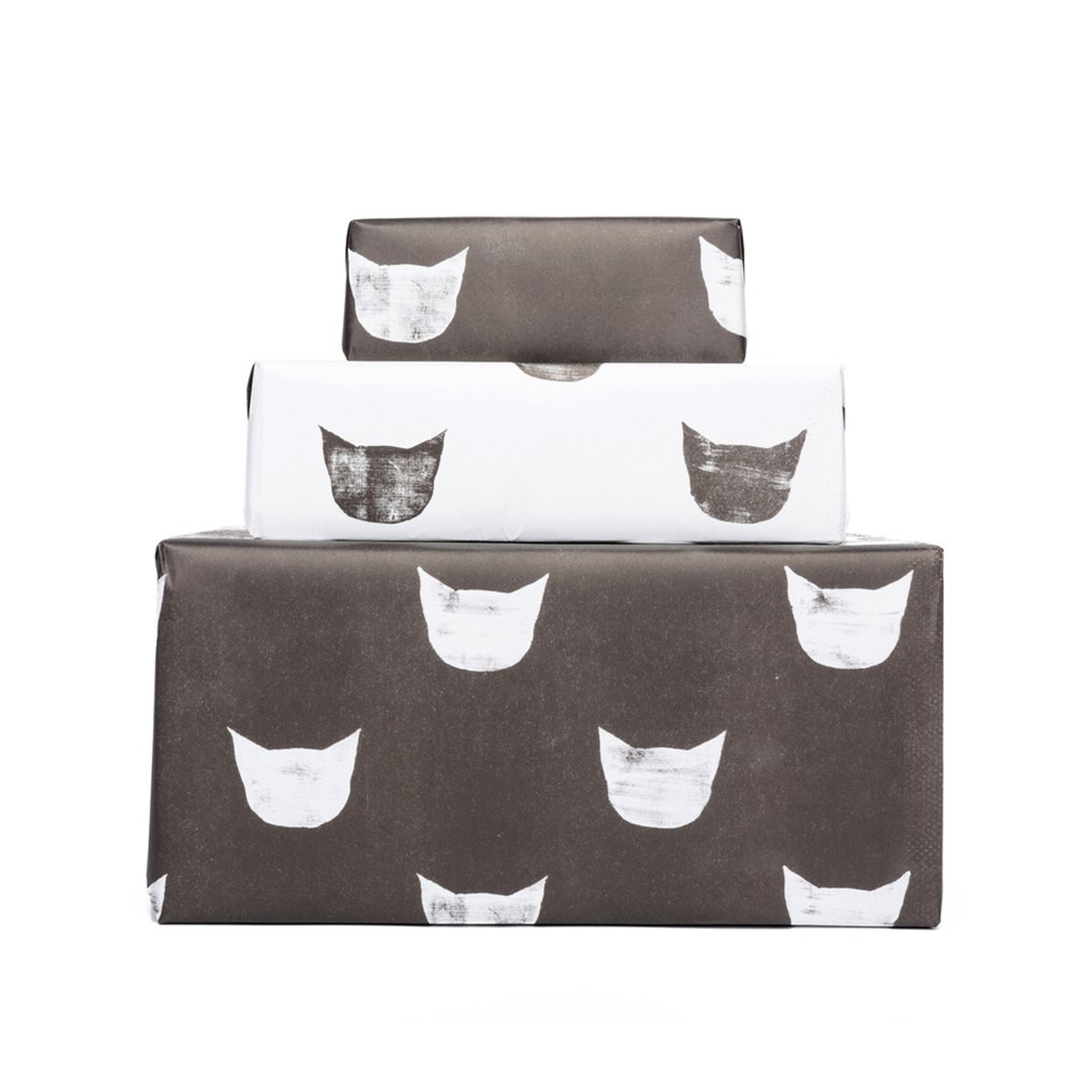 Gift Wrap, Black + White Cats