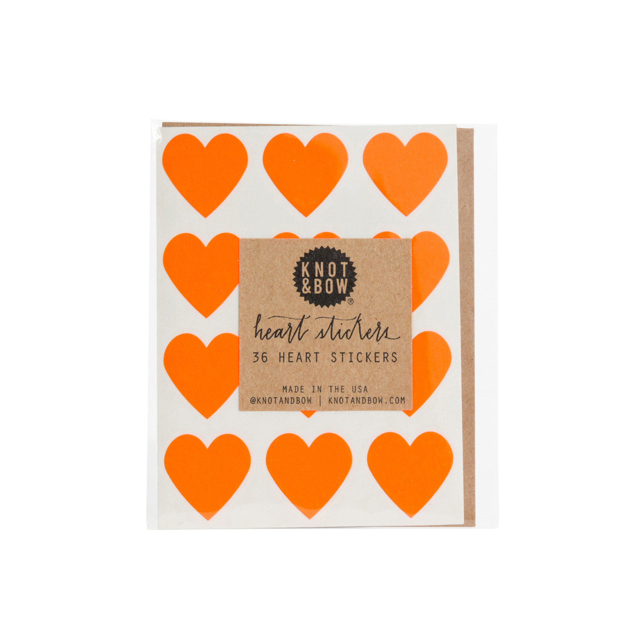 Heart Stickers, Neon Orange