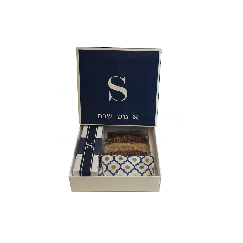 Navy with white border monogrammed guest packages