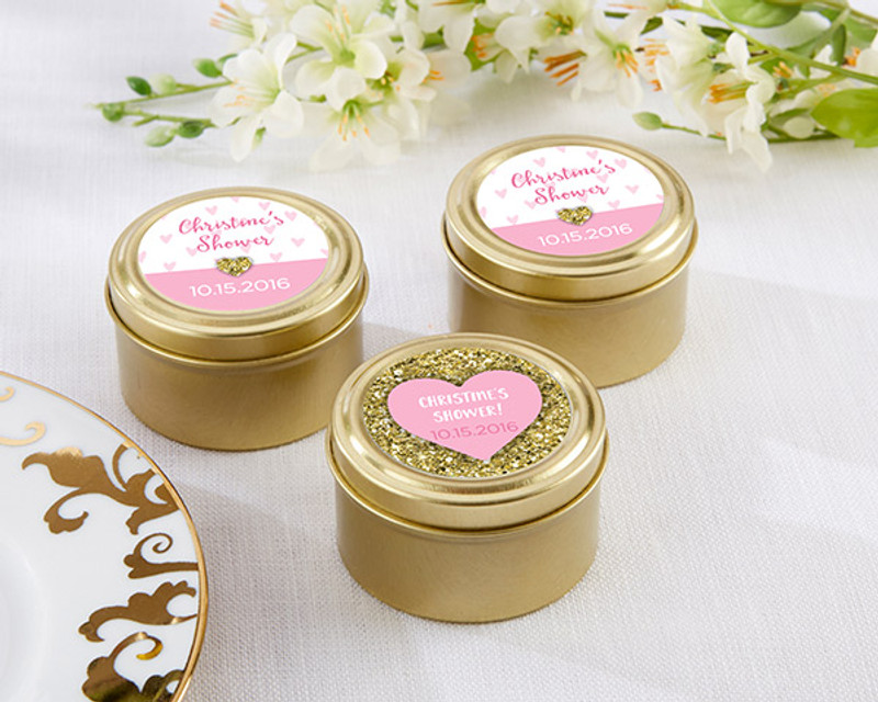 Personalized Gold Round Candy Tin - Sweet Heart (Set of 12)