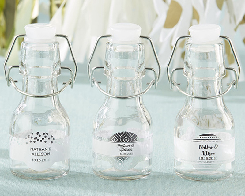 Mini Glass Favor Bottle with Swing Top - Silver Foil (Set of 12)