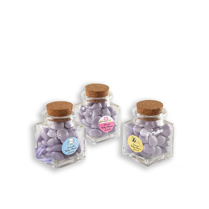 """Petite Treat"" Square Glass Favor Jar - Baby (Set of 12) (See description to design your label)"