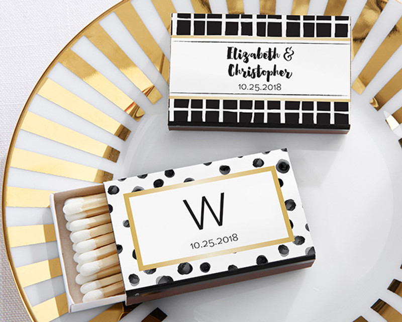 Personalized Black Matchboxes - Modern Classic