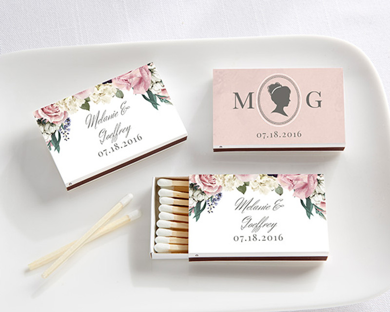 Personalized White Matchboxes - English Garden