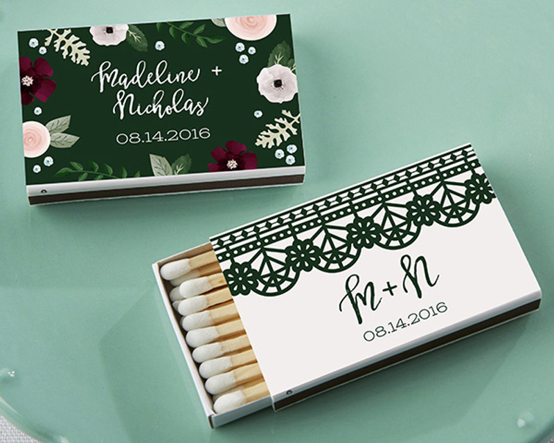 Personalized White Matchboxes - Romantic Garden