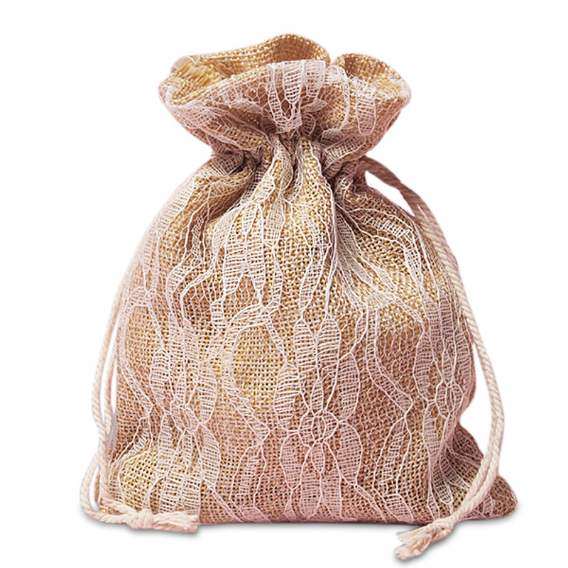 Burlap and Lace favor bags 4 x 5 (3 Colors Available)
