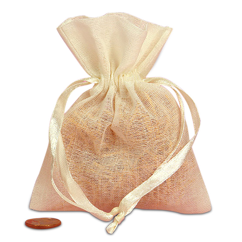 Colored Muslin Bag 4x5 with Optional Lasercut Tag (4 Colors Available)