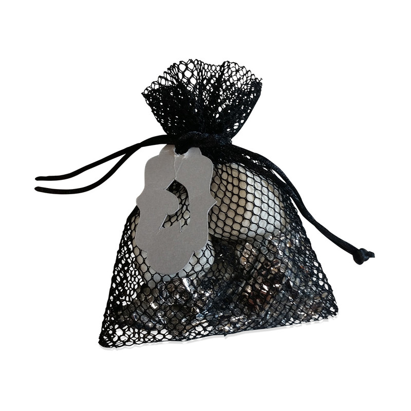 Black  Mesh Favor Bag 3x4 with Optional Lasercut Tag