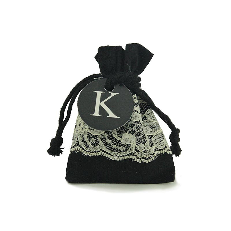 Black Cotton Bag with Cream Lace 3x4 & Optional Personalized Tag