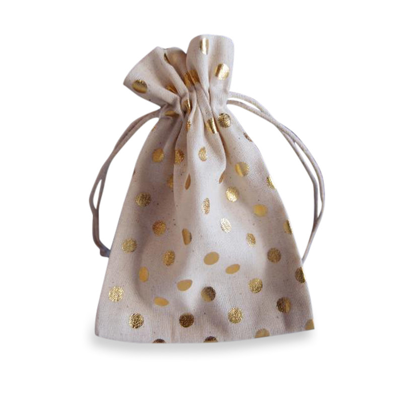 Cotton Bag with Metallic Gold Dots 3.5 x 5 & Optional Lasercut Tag