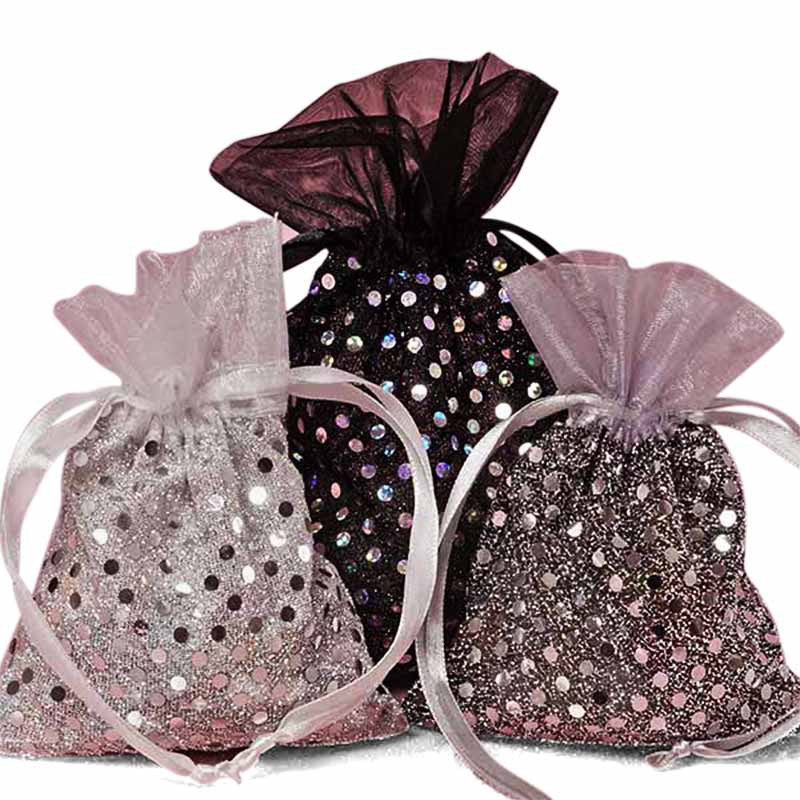 White Silver or Black Sparkle Fabric Bag 4 x 5
