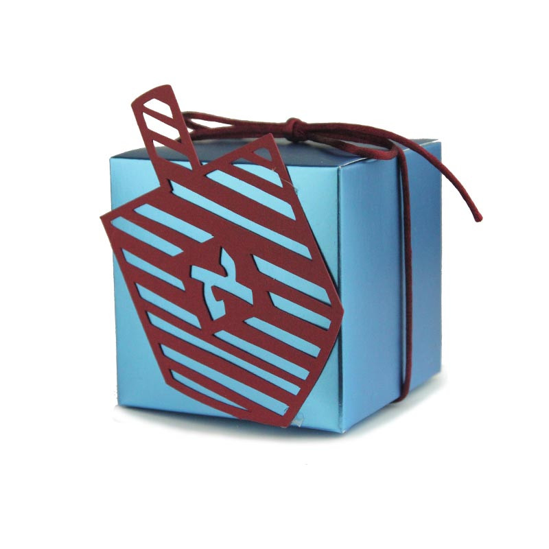 Mirror Metallic Box with Diagonal Stripe Lasercut Dreidel, Size 2x2 or 3x3. 5 Colors available.