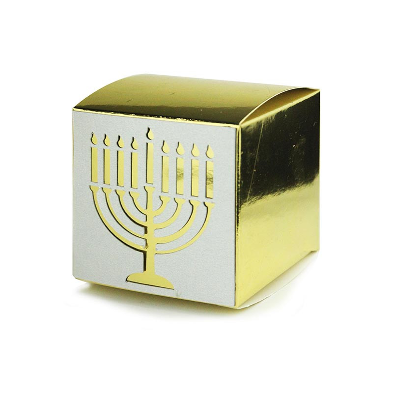 Mirror Metallic Box  with Menorah Lasercut. Size 2x2 or 3x3. 4 Colors available.