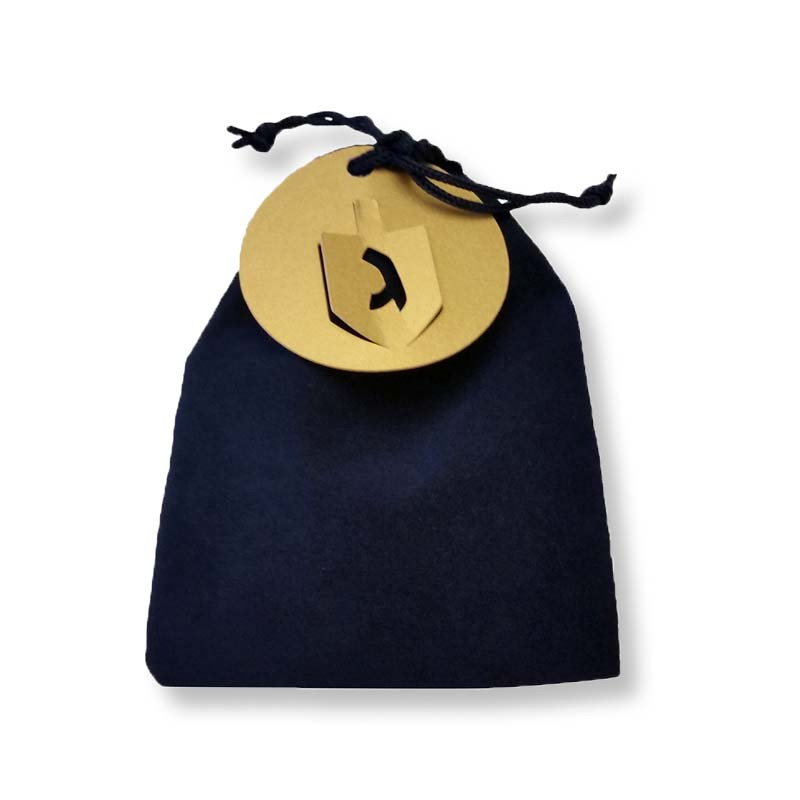 Velvet Bag with Lasercut Dreidel Tag