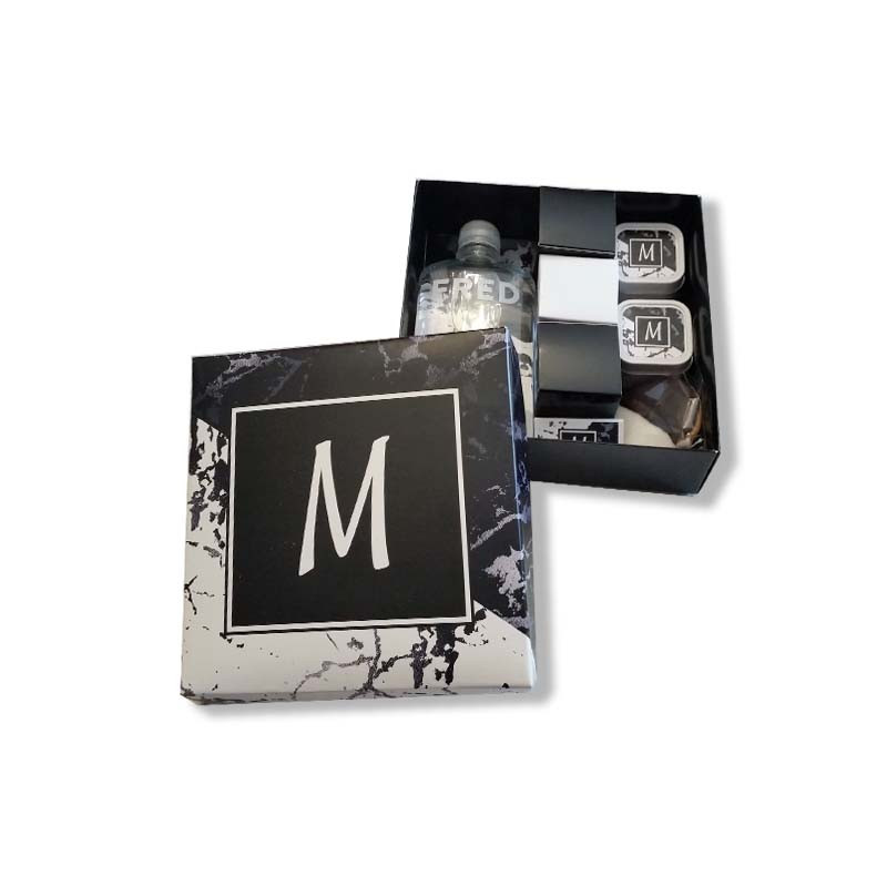 Black & White Marble Design Monogrammed Welcome Box