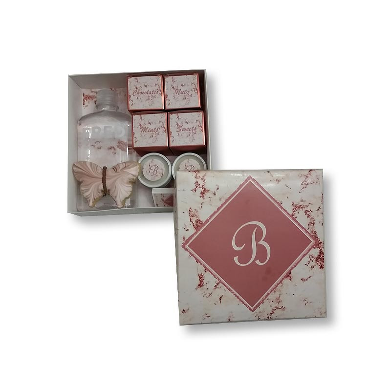 Rose Gold Marble Design Monogrammed Welcome Box