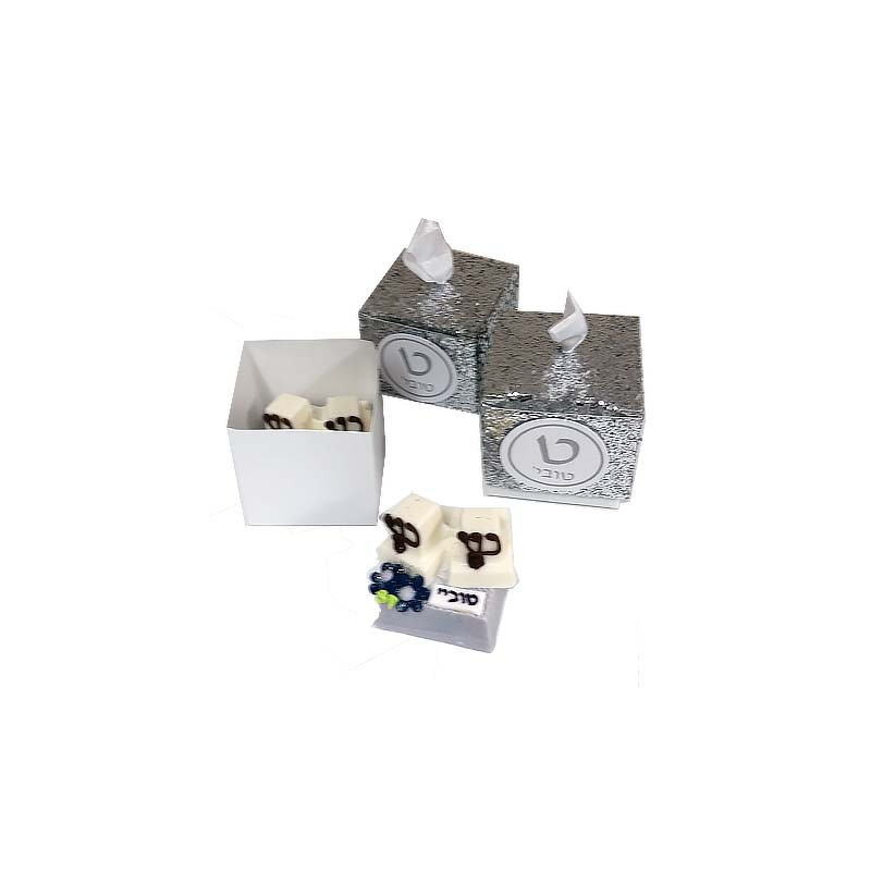 Silver Glitter Bar Mitzvah Favor Box with tag and optional chocolate