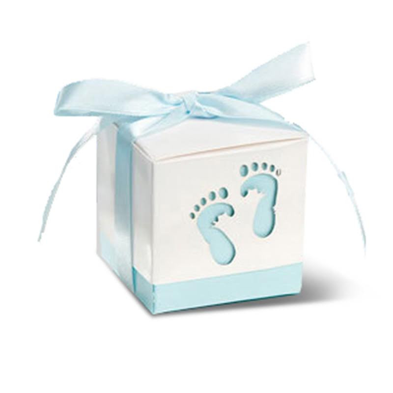 Baby Feet Favor Box Blue (Set of 12)