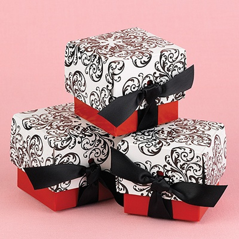 Red Filigree Favor Boxes  25pk