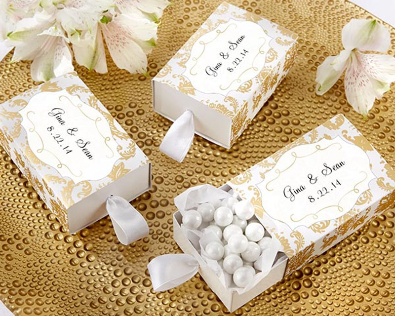 """Treasures"" Gold Damask Favor Box (Set of 24) (Available Personalized)"