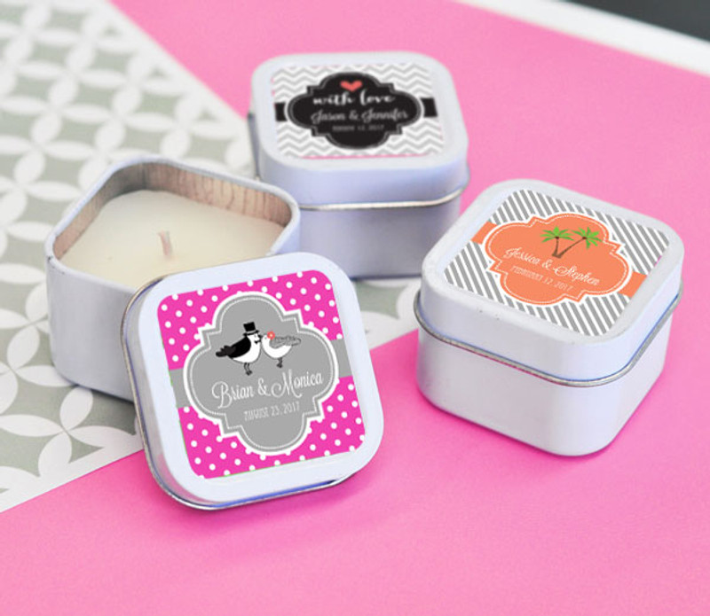 Square Personalized Theme Candle Tins
