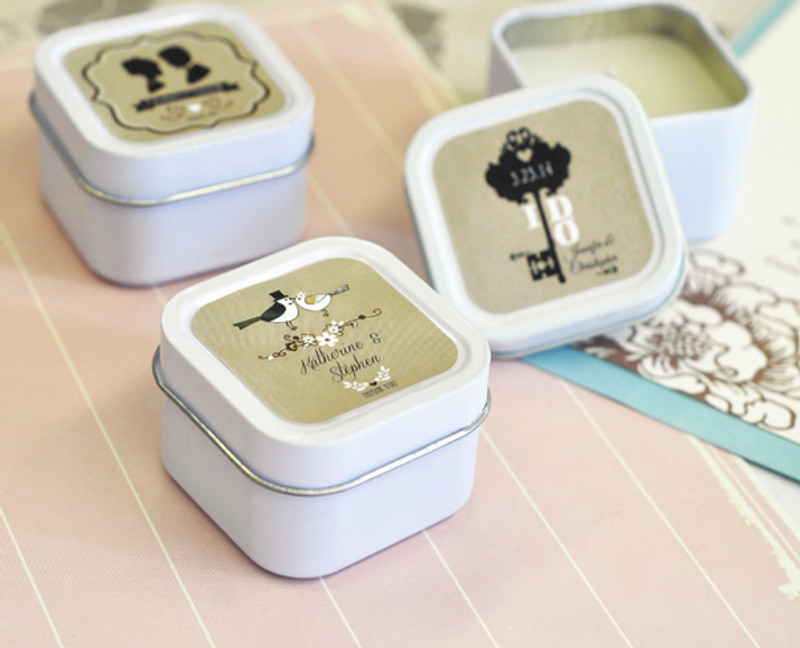 Vintage Wedding Personalized Square Candle Tins