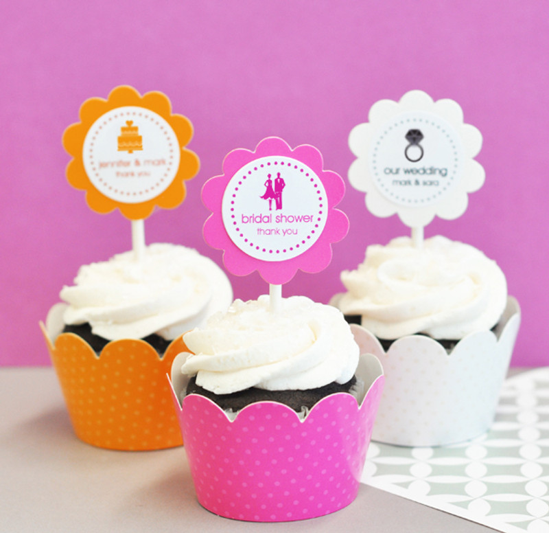 MOD Theme Silhouette Cupcake Wrappers & Cupcake Toppers (Set of 24)