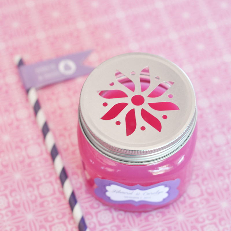 Personalized Mason Drinking Jars with Flower Lids