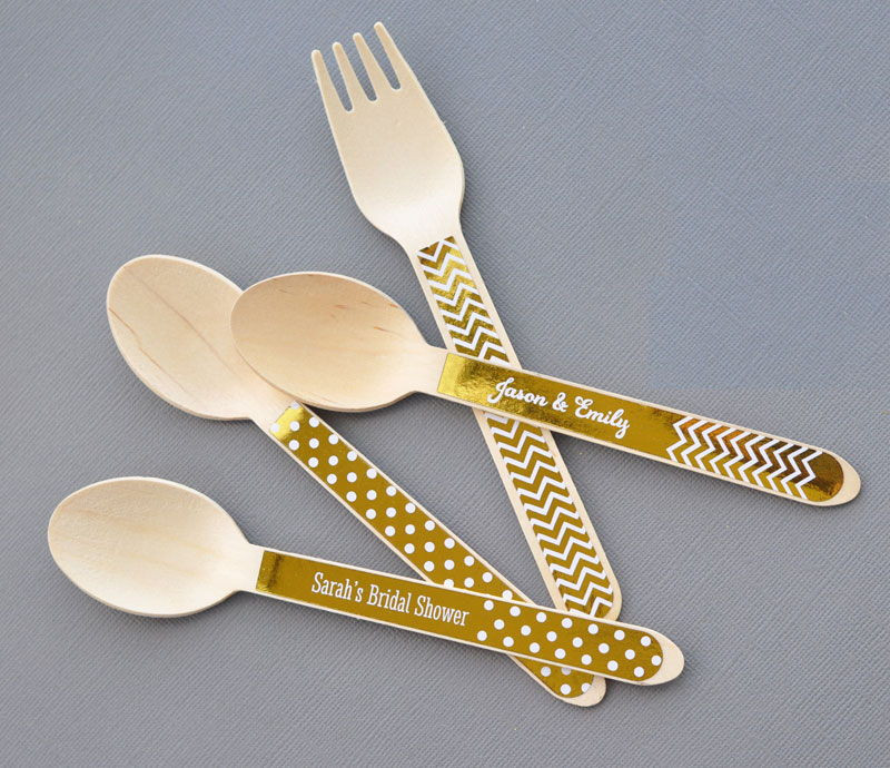 Personalized Metallic Foil Wooden Utensils (set of 24)