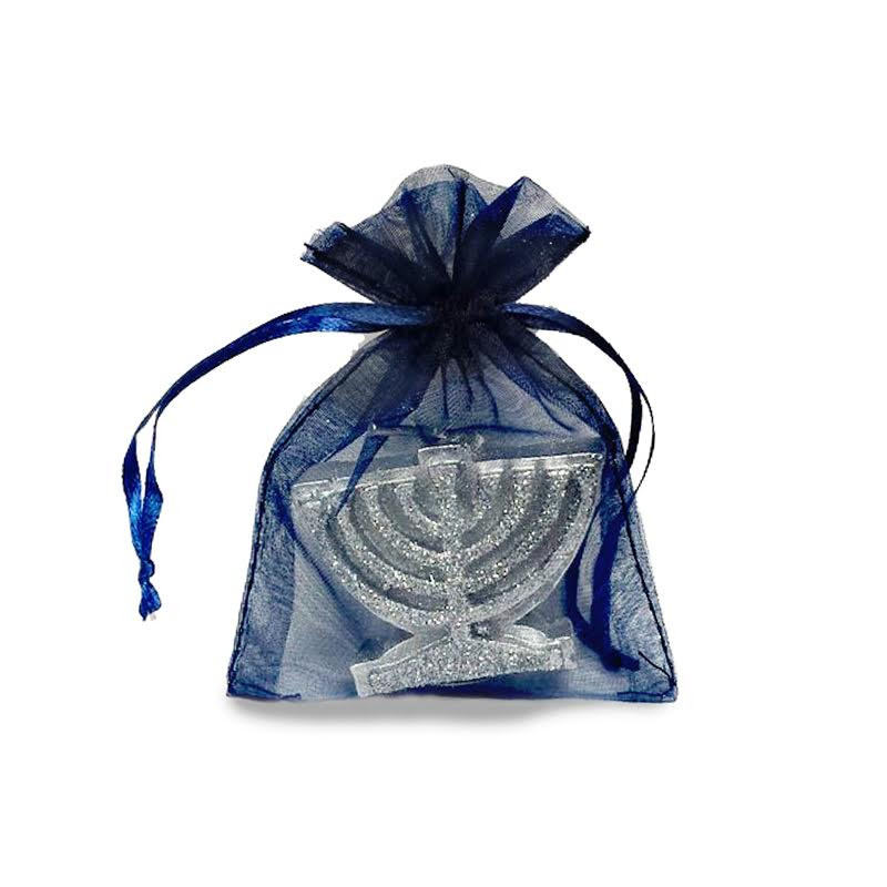 Silver Menorah Candle in Navy Mesh Bag