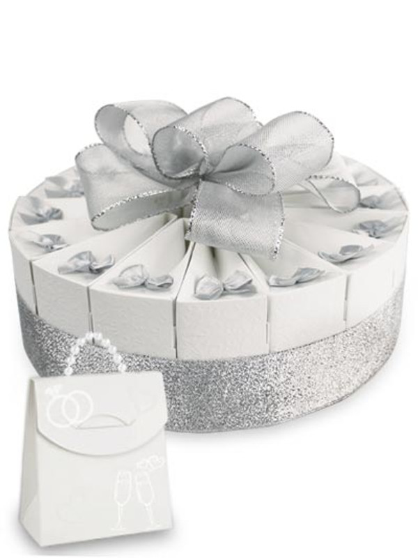 "Anniversary Silver Single Tier 8"" Favor Cake Kit"