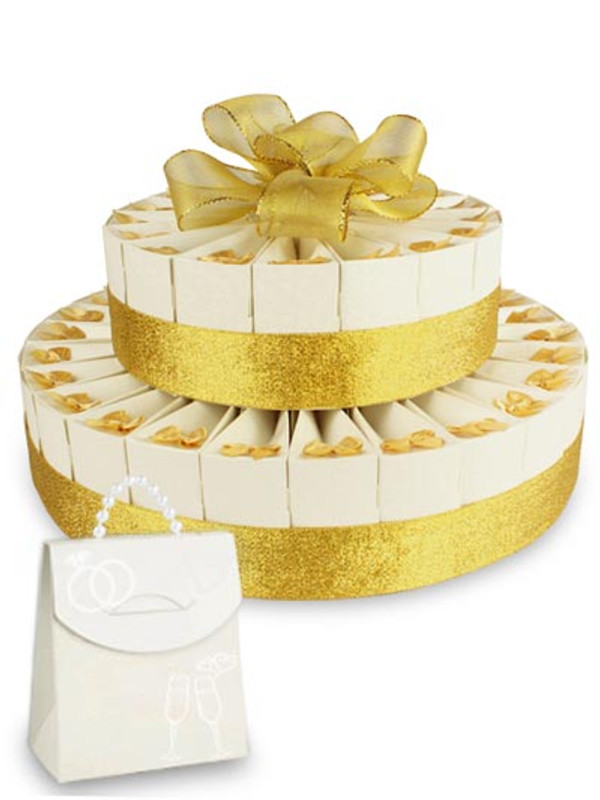 "Anniversary Gold Double Tier 8"" x 12"" Favor Cake Kit"