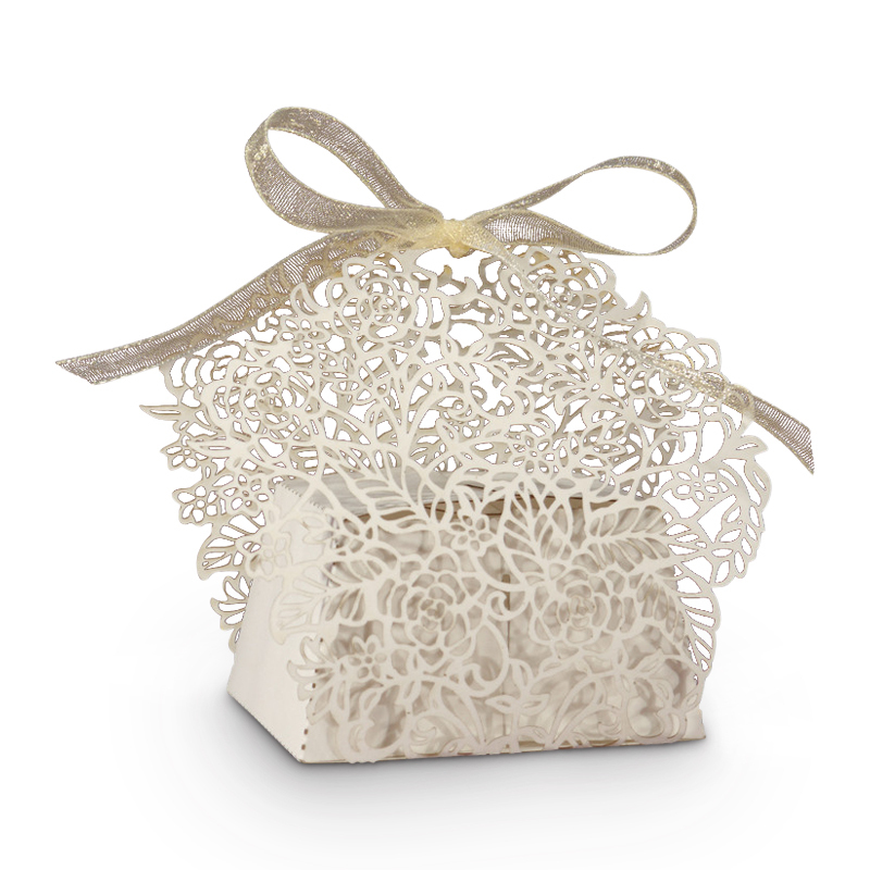 Rose Vine Favor Box, Available in White, Ivory, or Gold