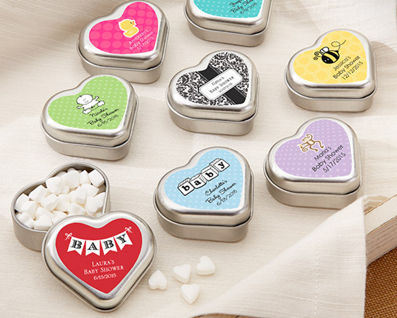 """MINT FOR YOU"" BRUSHED-METAL HEART-SHAPED MINT TIN - BABY"